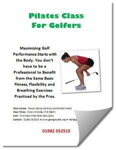 Golfers Pilates Class Flyer