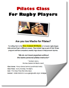Rugby Players Pilates Class Flyer